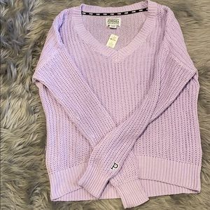 NWT PINK Light Purple Knitted Scoop Neck Sweater